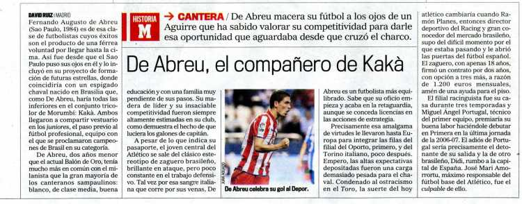 Marca newspaper makes a report of De Abreu